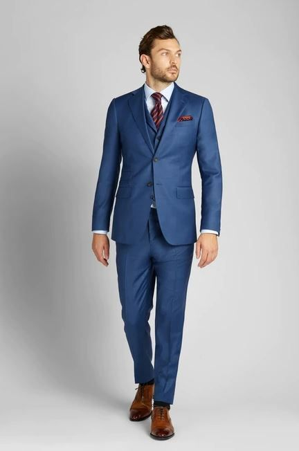 August McGregor French Blue Sharkskin Suit