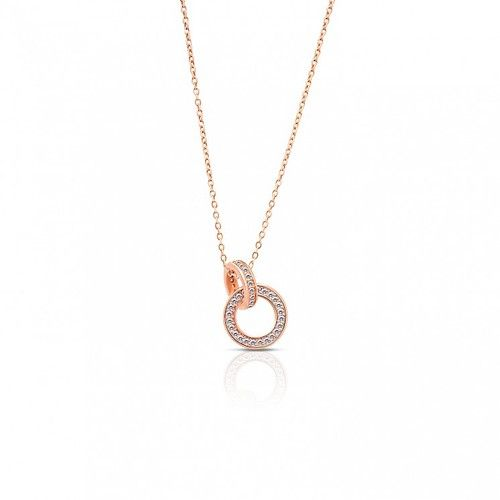 Duetta Interlocked Circles 18K Gold Plated Necklace from Crudo Leather