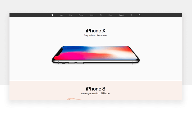 Apple's products are an art in and of themselves and by using white space, the visitor only has one focus at any given time. No distractions here.