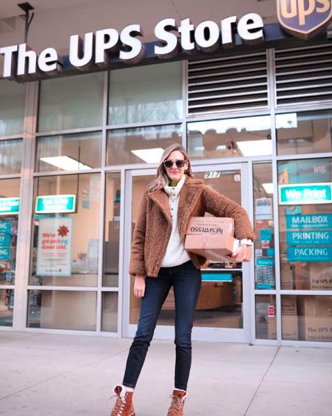Woman using UPS Weekend Service