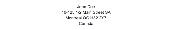 Canadian Address Format Example