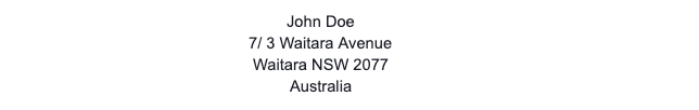 Australian Address Format Example