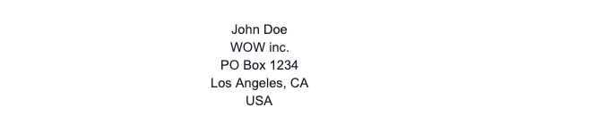 US PO Box Address Example