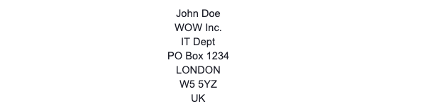 UK PO Box Address Example