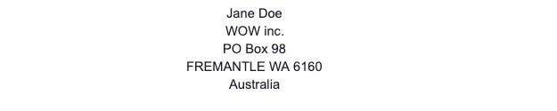 Australian PO Box Address Example