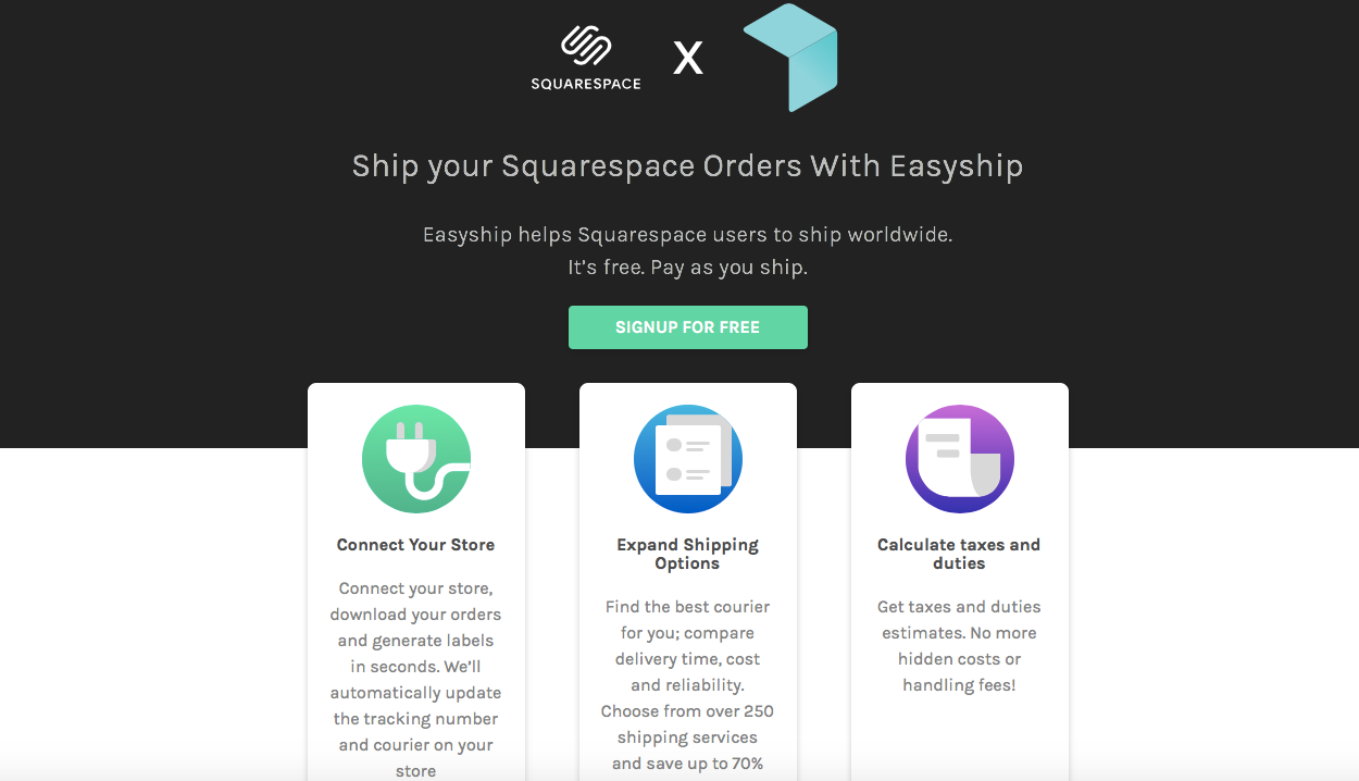 SquareSpace integration with Easyship