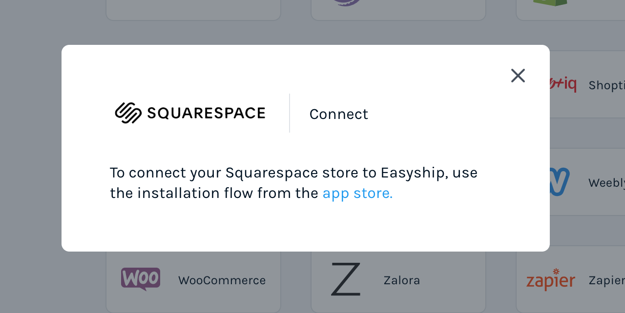 Connect your Squarespace account directly from your Easyship Dashboard.