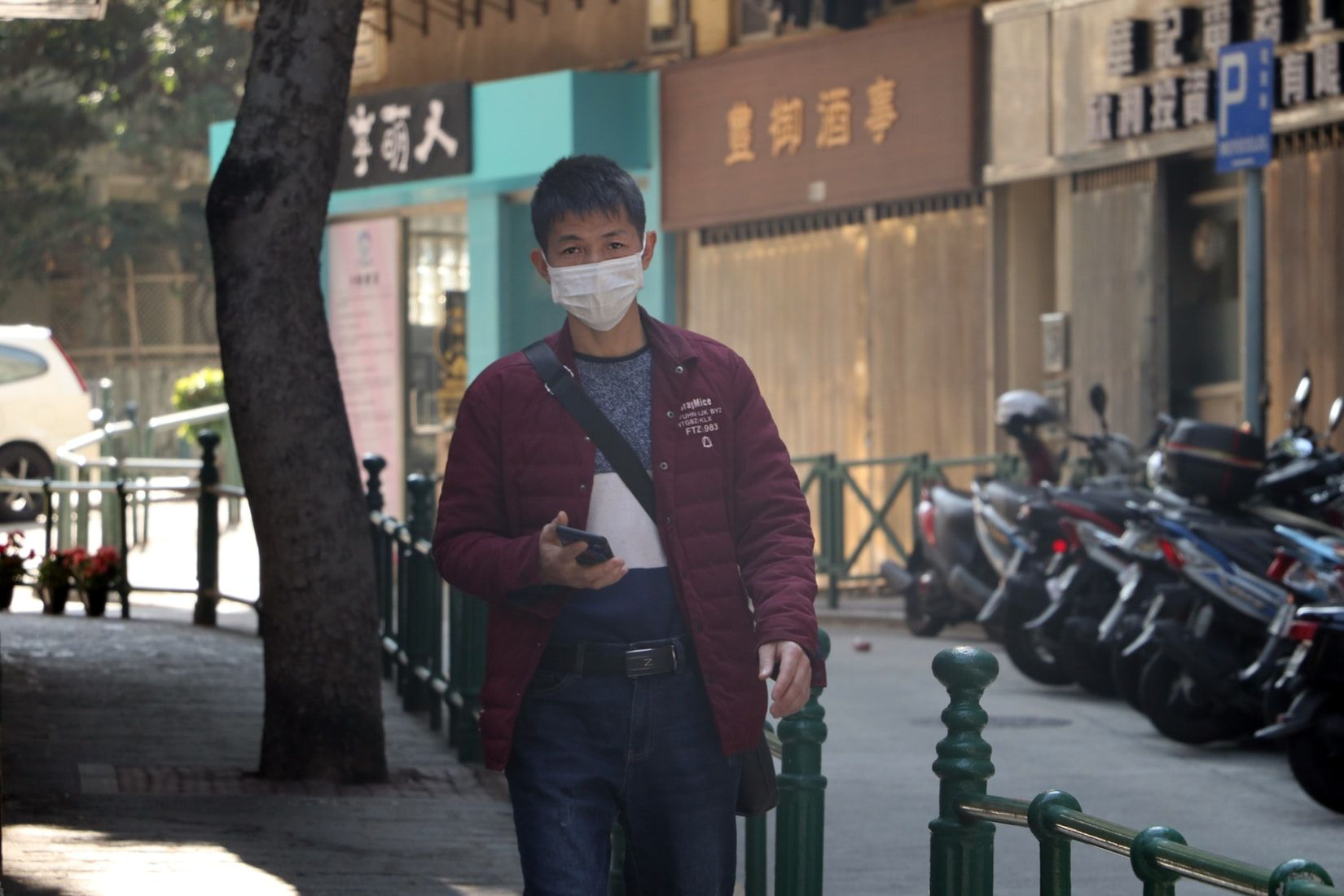 Man wearing mask to protect against the coronavirus outbreak