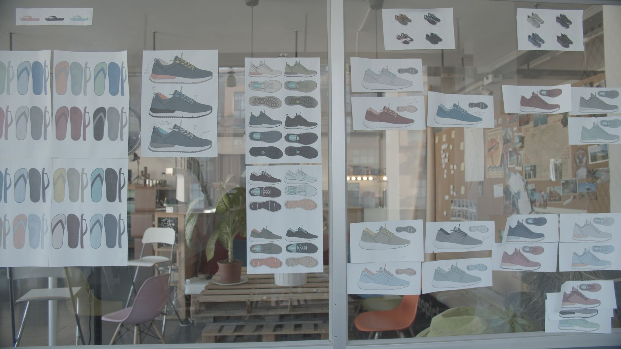 Tropicfeel sketching future shoes in their Barcelona Office