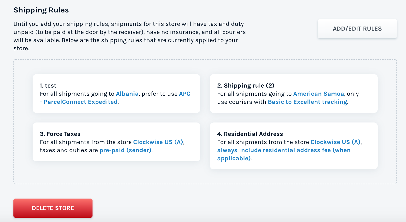 Creating shipping rules for checkout page on Shopify and WooCommerce store