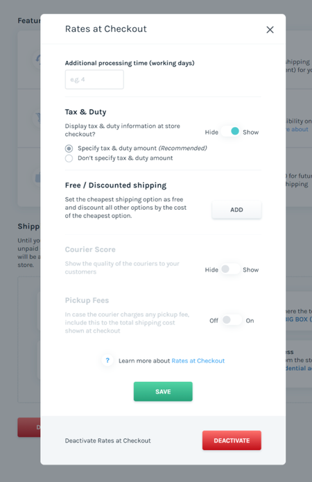 Easyship Tax and Duty Tool