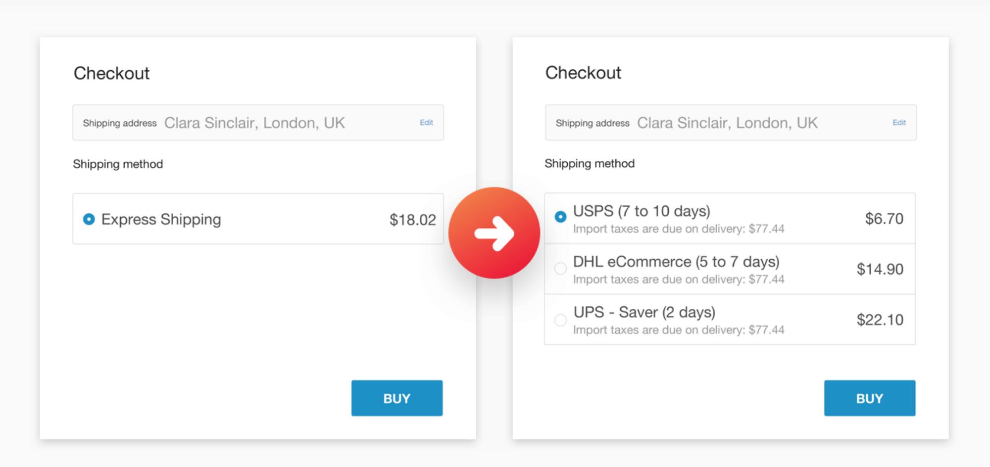 Live Shipping Rates at Checkout