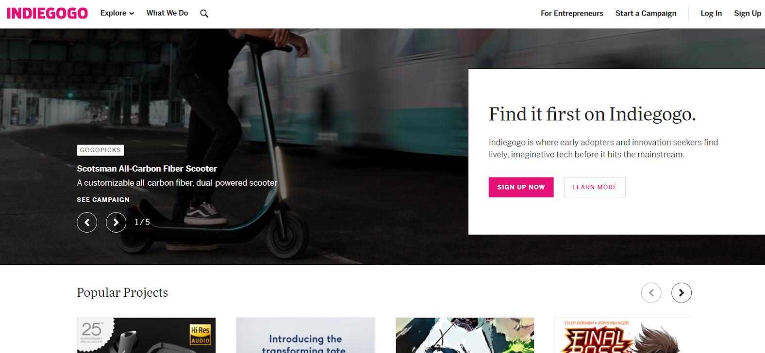 Indiegogo Crowdfunding Page